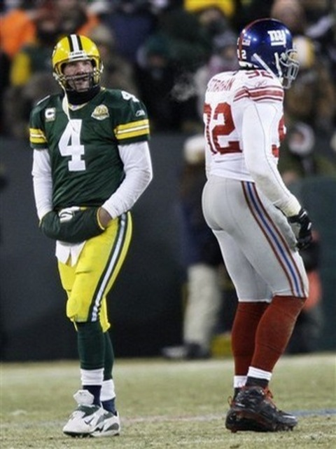Favre after throwing his now famous game-ending interception in the 2007 NFC Championship game.