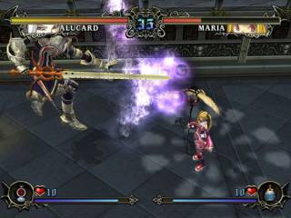 Alucard fighting Maria Renard.
