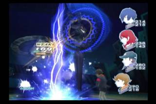 The typical look of battle in Persona 3. Only the main character can be controlled directly while party members act on their own.