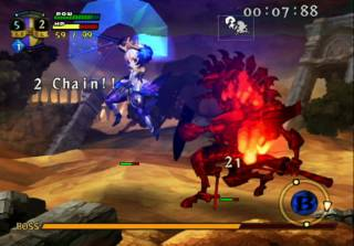 Gwendolyn, the first lead character, in battle with one of the bosses
