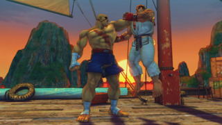 Sagat performing a throw on Ryu in Street Fighter IV