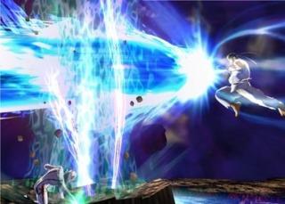 Ryu doing his Shinkuu Hadouken super attack.