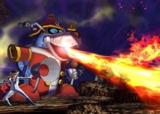Yatter-wan spraying fire as patter of one of Yatterman-1's super attacks.