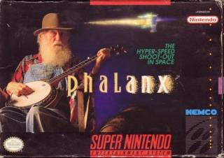 The original SNES box art for Phalanx - a side-scrolling shooter.