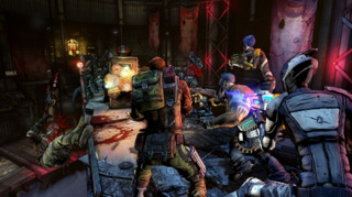 The game's new protagonists engaged in combat.