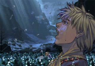 Cutscenes and dialogue are illustrated with large, detailed portraits of the major characters.