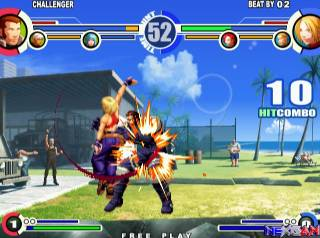 KOF finally left the Neo Geo behind with XI, allowing for better-quality stages and music.