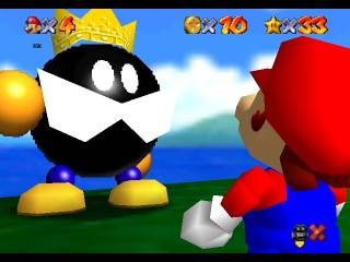 Mario confronting the King Bomb-Omb