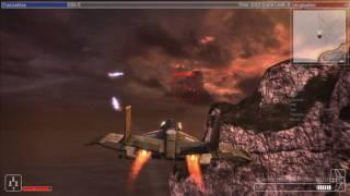 A Warhawk in flight on the Eucadia map.