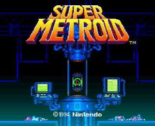 Title screen featuring the Metroid Hatchling