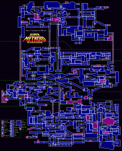 Map of Super Metroid: Redesign showing its enormous size