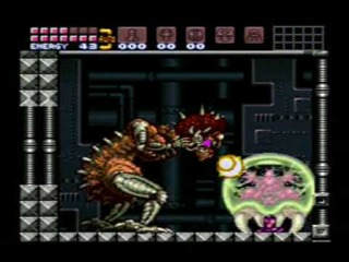 Mother Brain attacking the Metroid Hatchling as it is aiding Samus