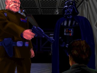 This cutscene eerily reminds me of Rebel Assault, that awful FMV Star Wars game. I assume this is something LucasArts did a lot of in their games.