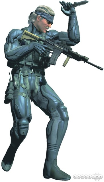 Solid Snake with an M4 equipped with an EOtech, a forward grip and a tactical light.