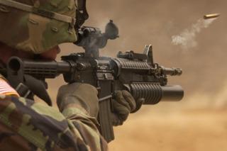 An M4A1 just after firing.