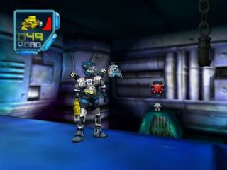 Juno with Floyd. Floyd is controlled by the second player in Co-Op games. A Tribal is visible on the doorway in the background.