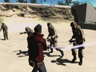 Players use the A button to make Travis swing his sword, but deliver the final blow with a motion sensing quick time event.