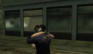 Two players embracing with the /hug command.