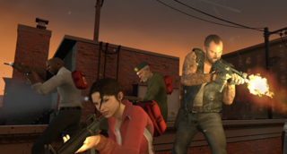 The main characters. Francis on right, Bill in back, Louis on left, Zoey in front.