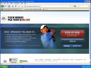 Homepage for Tiger Woods Online
