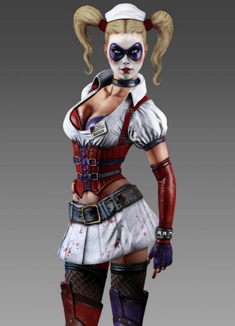 Harley Quinn as she appears in Batman: Arkham Asylum.