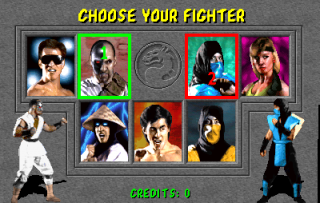 Character Selection Screen with player one as Kano and player two as Sub-Zero.