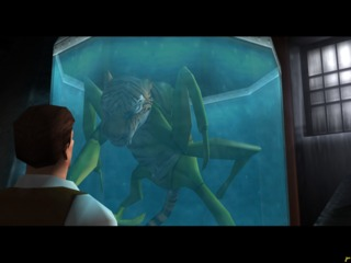 Rex, staring at a strange creature.