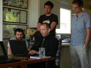 Daniel Benmergui, Marc ten Bosch, Chris Hecker and Jonathan Blow at the first Depth Jam