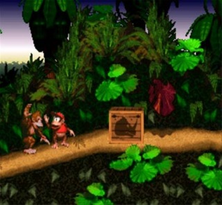 Donkey and Diddy Kong tag each other near a Rambi the Rhino crate.
