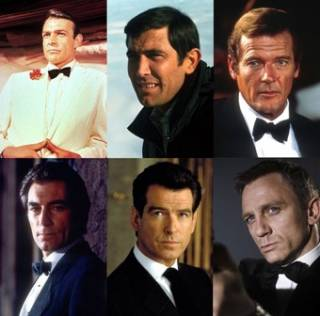 Movie portrayals from left-to-right: Connery, Lazenby, Moore, Dalton, Brosnan, Craig