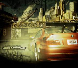 Poster featuring an early vesion of the game logo, as well as an orange BMW.