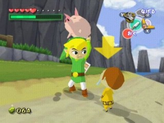 Link holds a pig above his head