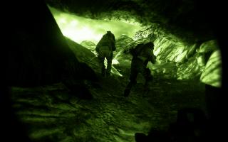 Cave exploring in the dark