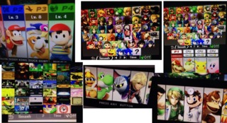 Screenshots of the game's final roster, with emphasis on previously unannounced characters including Ness, Shulk, and the Duck Hunt dog.