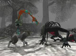Wolf Link and Midna fight Shadow Beasts in an early screenshot.