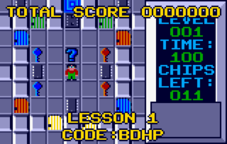 The first level of the original Lynx version of the game, showing Chip about keys and doors.