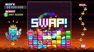 SWAP has progressive levels of difficulty, each one adding speed and new items.