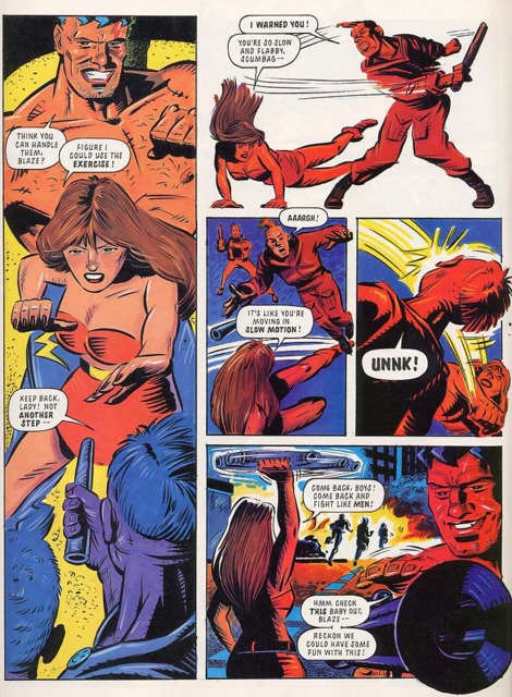 Blaze and Max fight enemies in the first story.