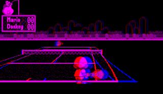 Mario's Tennis running on an emulator, simulating the
