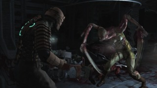 Isaac battles a Necromorph.