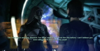 Tali converses with Commander Shepard