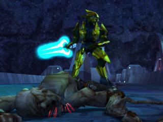 An Elite wielding an Energy Sword stands over a Flood combat form