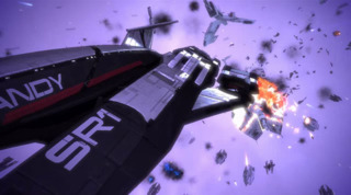 The Normandy leading the assault on the Geth and Sovereign