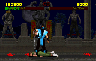 Sub Zero beheading Sonya Blade in Mortal Kombat. This move was cited for helping found the Electronic Software Rating Board in 1992.