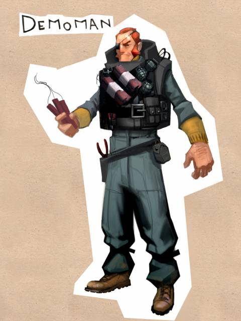 Early concept art for the Demoman.