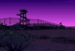 The entrance to Area 69 at dusk.
