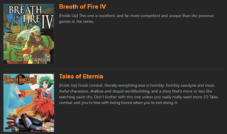 I honestly wish this was the review system I used when writing about 40+ hour JRPGs on the site.