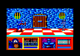 Captain America fights an enemy in the Amstrad CPC version.