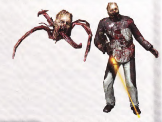 A low-resolution image of a Creeper (left) and a Shambler.