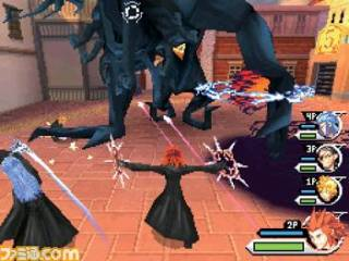 An in-game screenshot of the player using Axel fighting with other Organization members